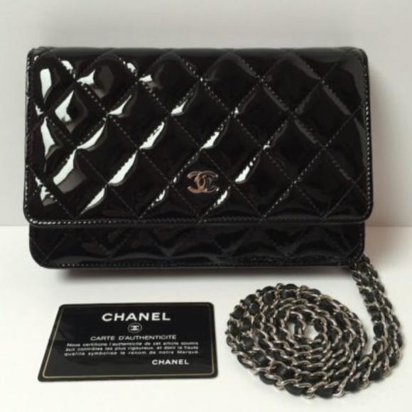 914e89412d3cc5 CHANEL Bags | Black Patent Leather Woc Wallet On Chain | Poshmark
